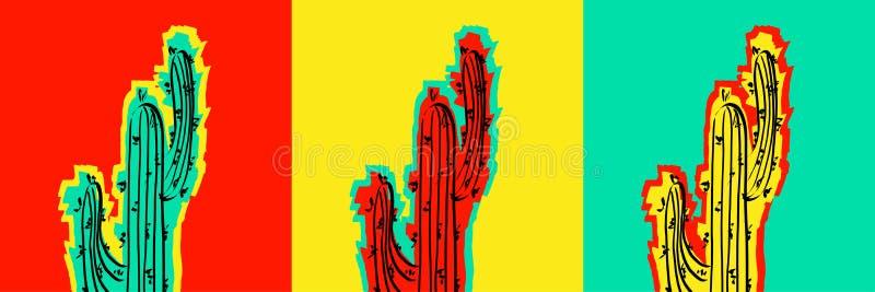 Uppsättning av popArt Cactus bilder stock illustrationer