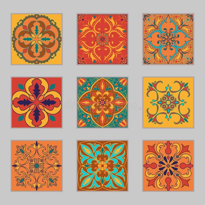 Uppsättning av portugisiska tegelplattor för vektor Härliga kulöra modeller för design och mode med dekorativa beståndsdelar arkivfoto