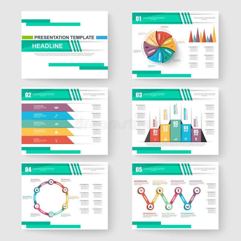 Uppsättning av presentationsglidbanamallar powerpoint royaltyfri illustrationer