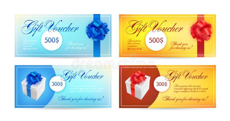 Uppsättning av presentkort med band, en pilbåge och gåvaaskar Elegant mall för vektor för gåvakortet, kupong, certifikat - royaltyfri illustrationer