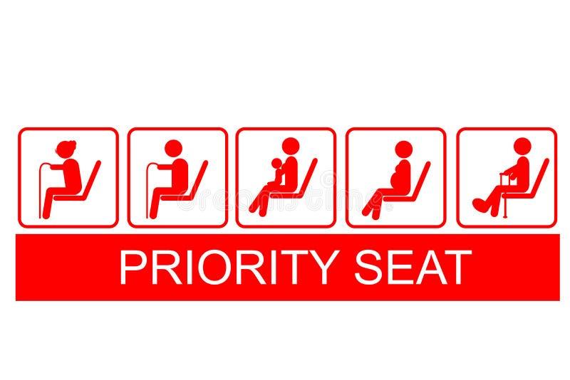 Uppsättning av prioriteten Seat på drevet för offentligt trans., bussen, mrt, etc. royaltyfri illustrationer