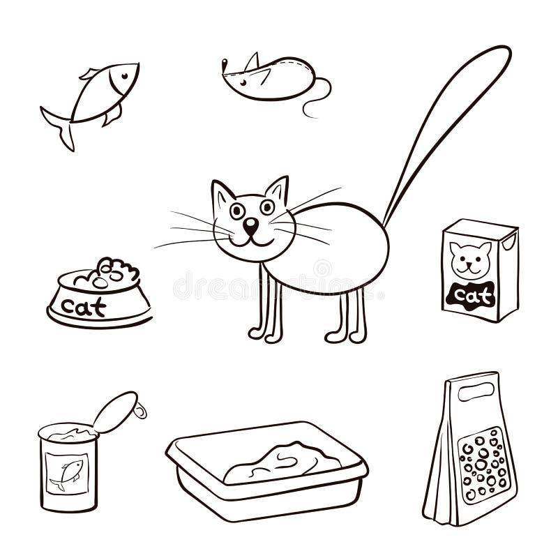 Uppsättning av produkter för katter också vektor för coreldrawillustration vektor illustrationer
