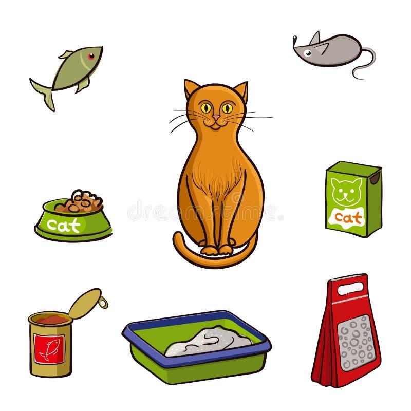 Uppsättning av produkter för katter också vektor för coreldrawillustration royaltyfri illustrationer