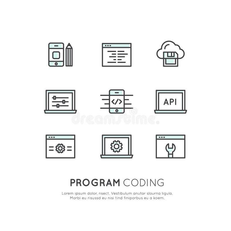 Uppsättning av programmet som kodifierar App för mobilen och rengöringsduken, SEO, Optimization, IT-utvecklingsprocess vektor illustrationer