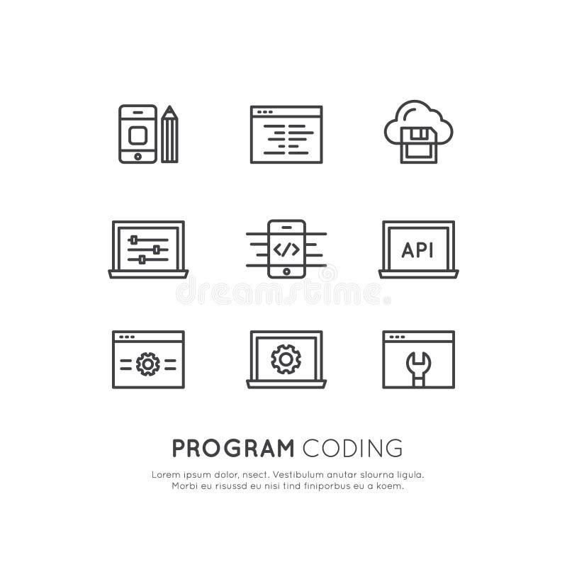 Uppsättning av programmet som kodifierar App för mobilen och rengöringsduken, SEO, Optimization, IT-utvecklingsprocess royaltyfri illustrationer