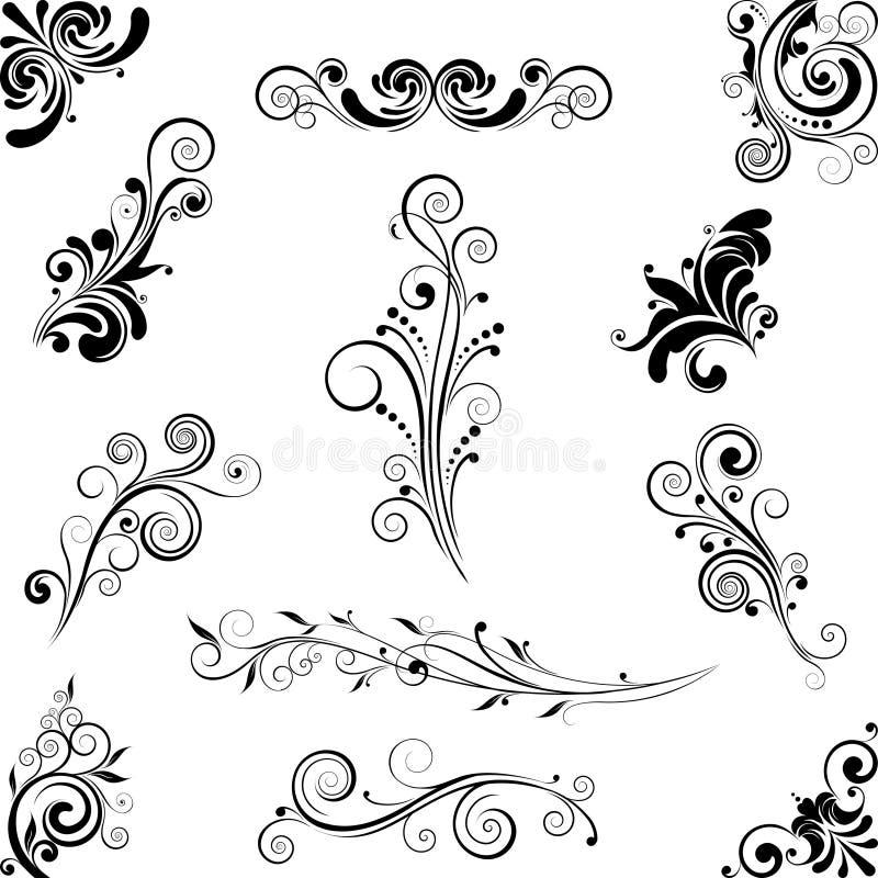 Uppsättning av prydnader för blom- design vektor illustrationer