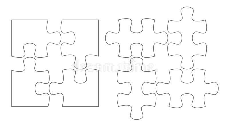 Uppsättning av pusselstycken Uppsättning för mallar för vektor för pussel fyra plan tom stock illustrationer