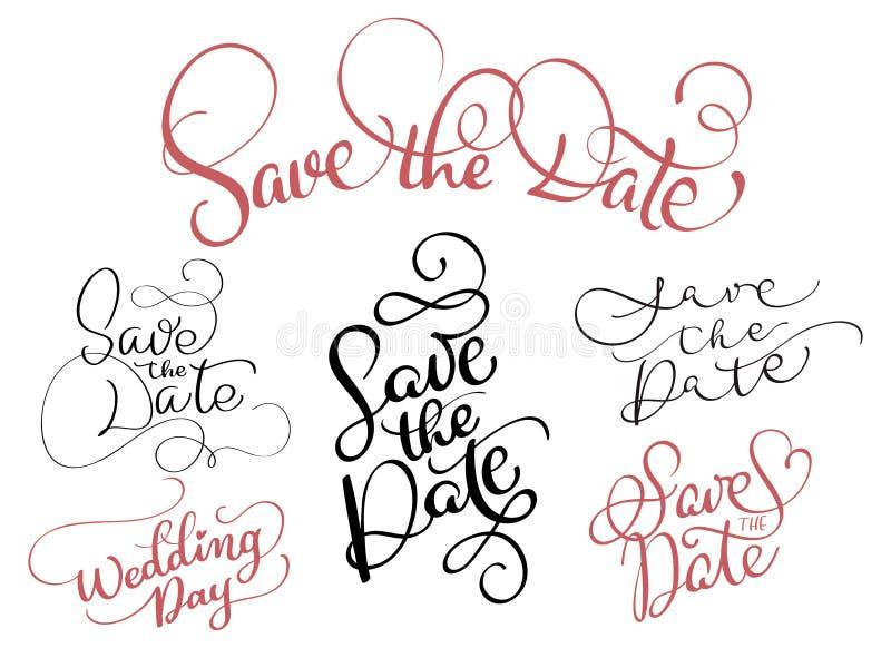 Uppsättning av räddning datumtexten på vit bakgrund Hand dragen illustration EPS10 för kalligrafibokstävervektor stock illustrationer