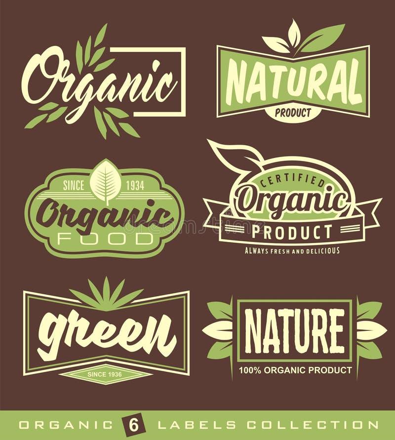 Uppsättning av rått, strikt vegetarian, sunda matetiketter, klistermärkear och designbeståndsdelar vektor illustrationer