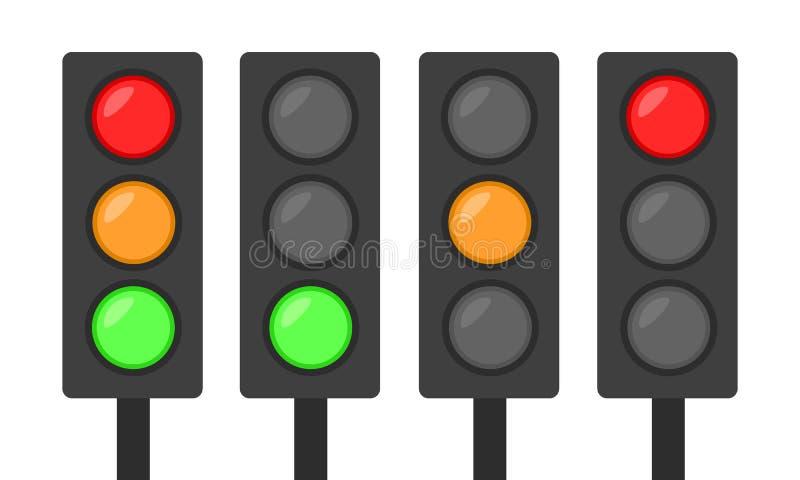 Uppsättning av röd gräsplan för trafikljussymbol och orange enkel plan desi royaltyfri illustrationer