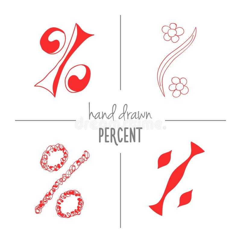Uppsättning av röd hand dragit procenttecken vektor illustrationer