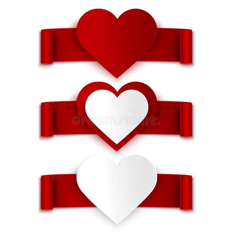 Uppsättning av röda band och hjärtor på vit royaltyfri illustrationer
