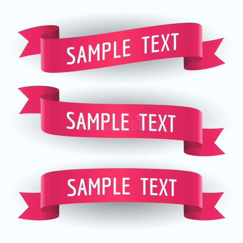 Uppsättning av röda band och text royaltyfri illustrationer