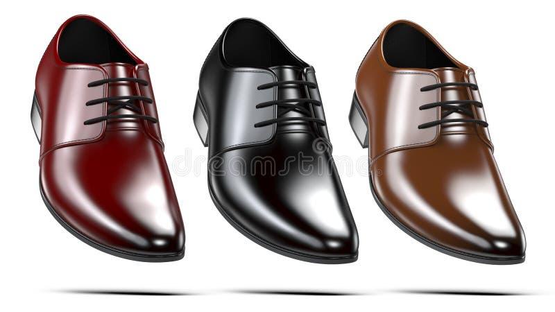 Uppsättning av röda för mode eleganta svarta och bruna skor för man` s 3d framför av manliga kängor för läder som isoleras på vit royaltyfri illustrationer
