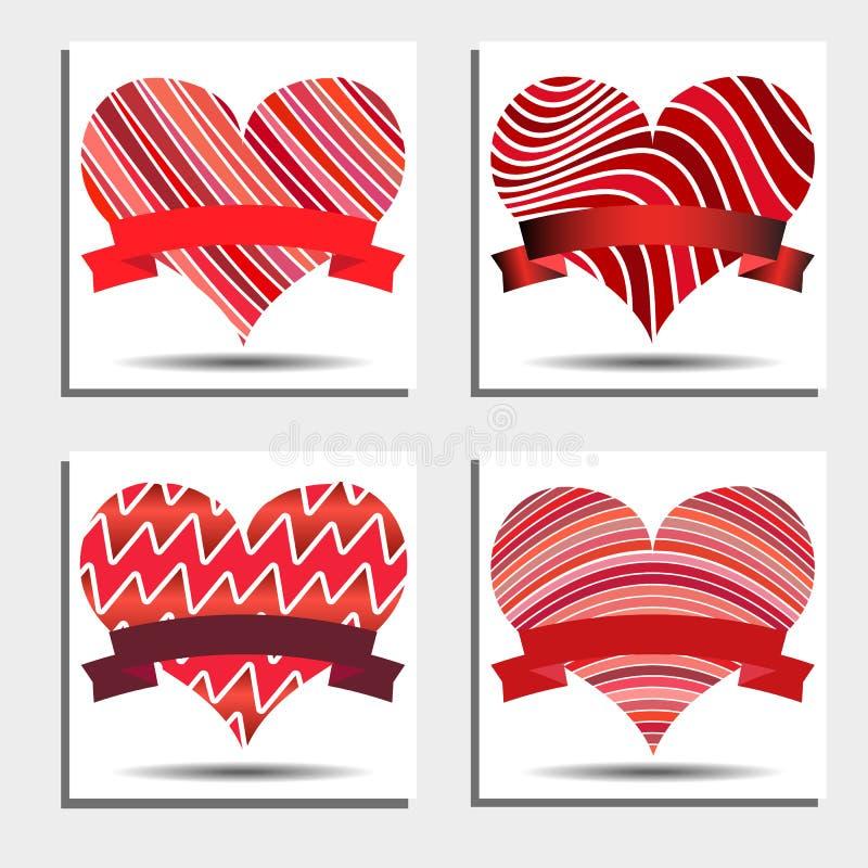 Uppsättning av röda hjärtor med band och skuggor på en vit bakgrund royaltyfri illustrationer