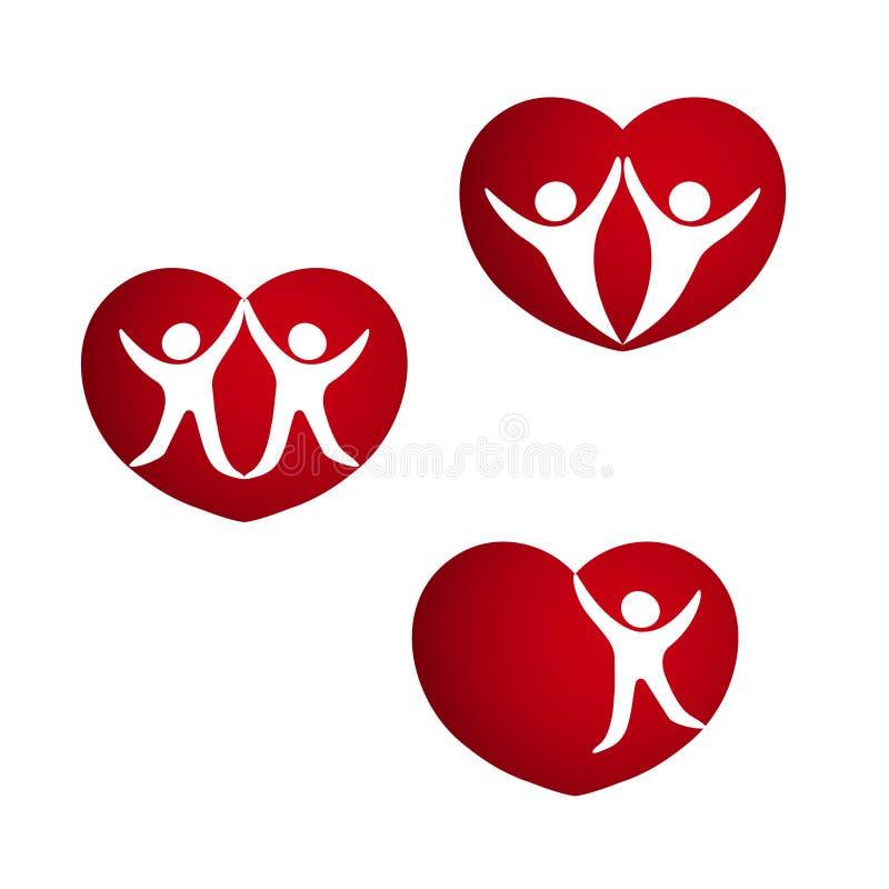 Uppsättning av röda hjärtor - symboler av livenergi, hjärta med konturn av par, mänskligt symbol vektor illustrationer