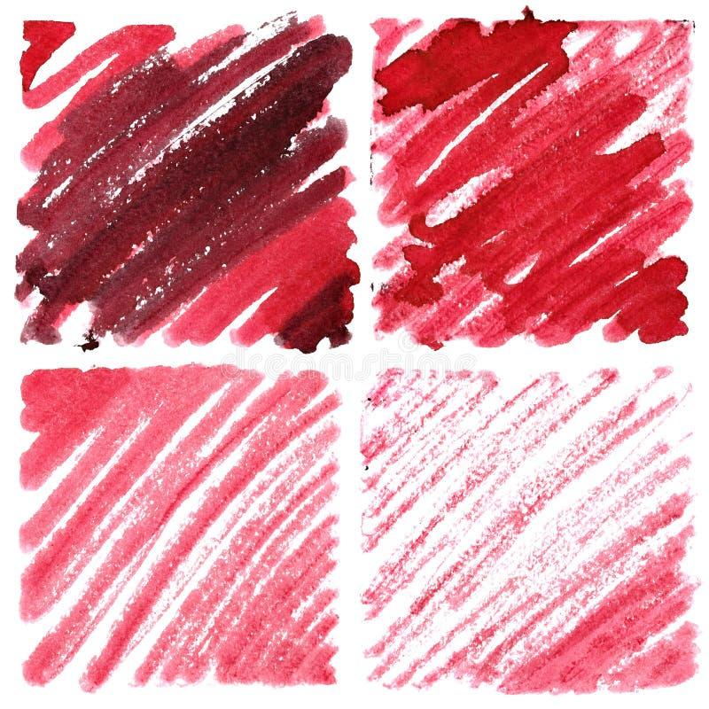 Uppsättning av röda klotterfyrkanter vektor illustrationer
