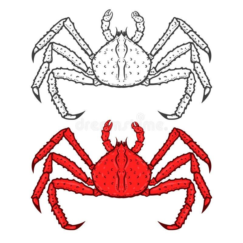 Uppsättning av röda krabbasymboler för konung som isoleras på vit bakgrund Seafoo stock illustrationer