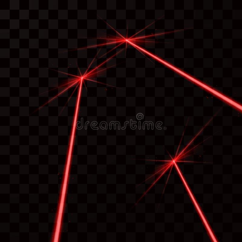Uppsättning av röda laserstrålar Rött ljusstråle Vektorillustration som isoleras på mörk bakgrund vektor illustrationer