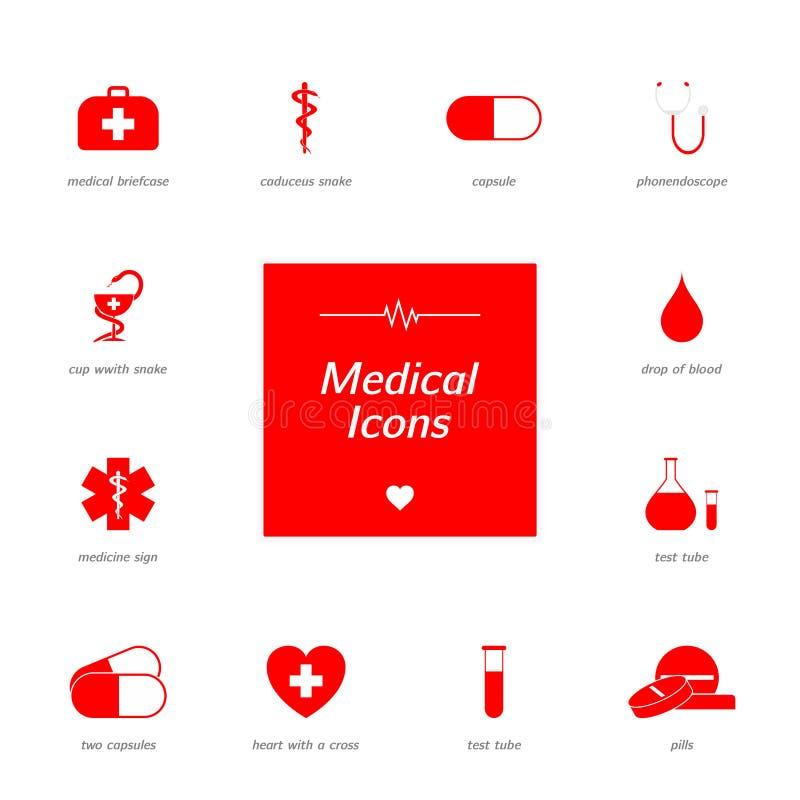 Uppsättning av röda medicinska symboler royaltyfria bilder