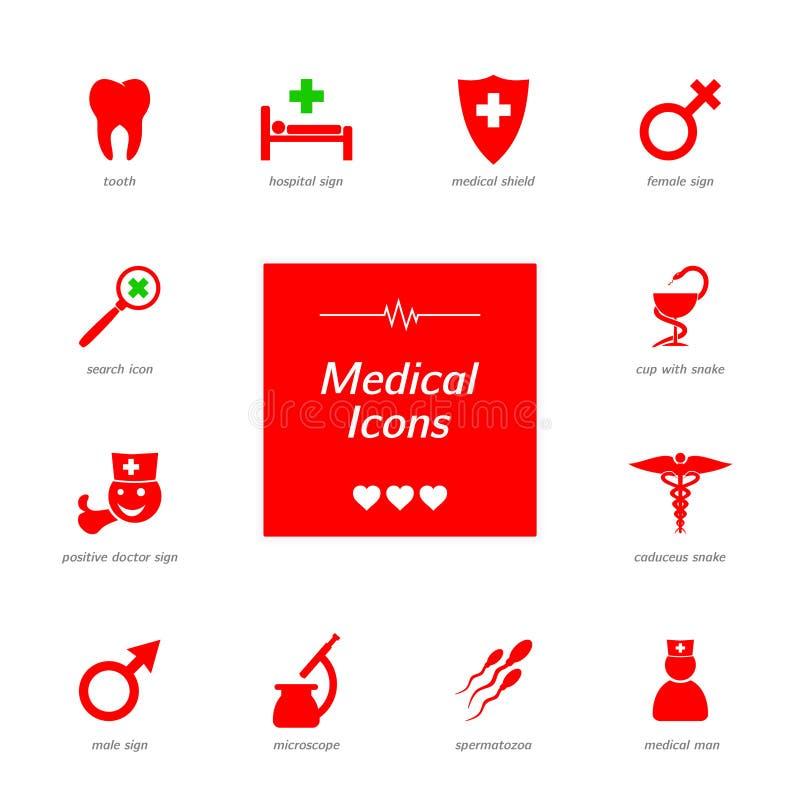 Uppsättning av röda medicinska symboler fotografering för bildbyråer
