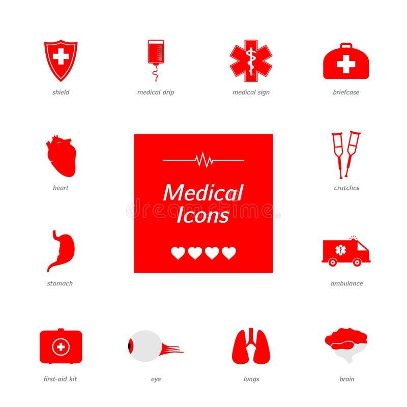 Uppsättning av röda medicinska symboler royaltyfri fotografi