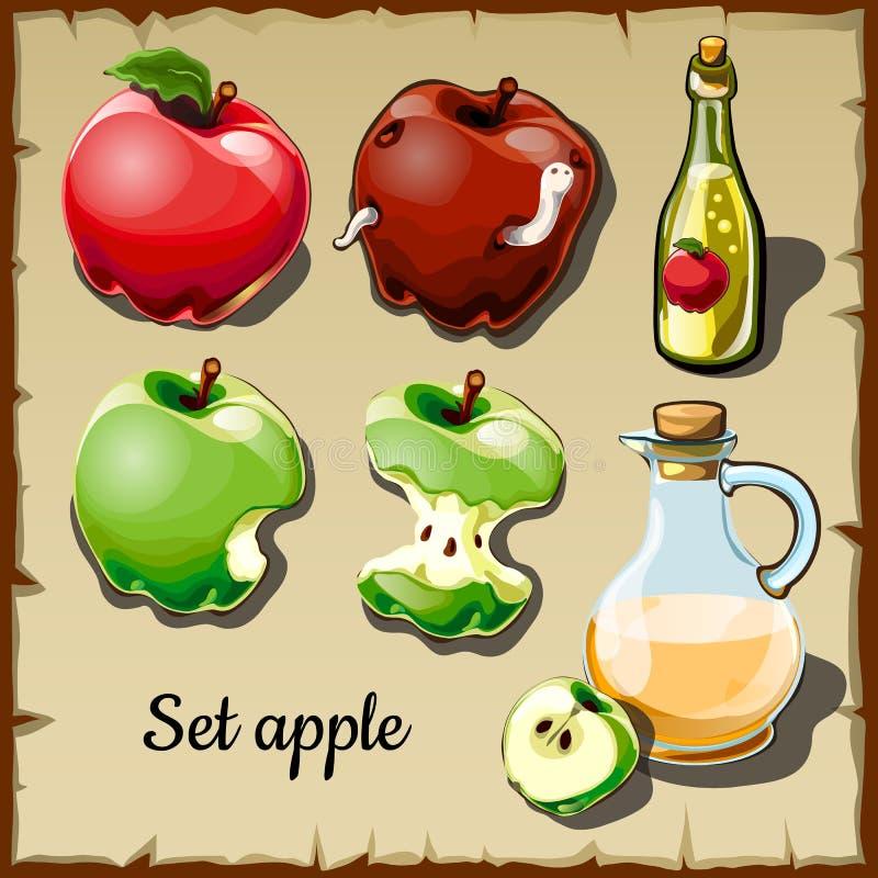 Uppsättning av röda och gröna äpplen och drinkar av dem royaltyfri illustrationer