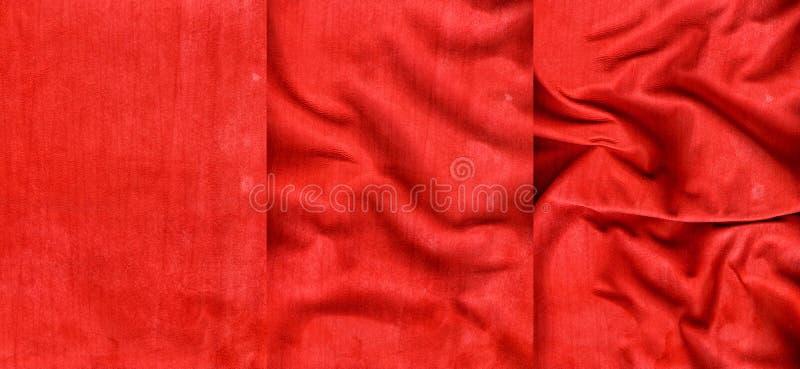 Uppsättning av röda randiga mockaskinnlädertexturer arkivfoton