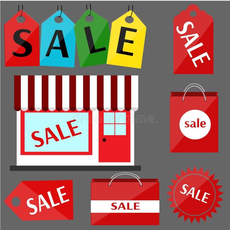Uppsättning av rött av klistermärkeförsäljningen royaltyfria bilder