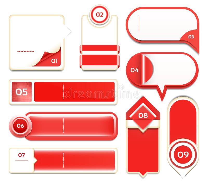 Uppsättning av rött vektorframsteg, version, momentsymboler. royaltyfri illustrationer