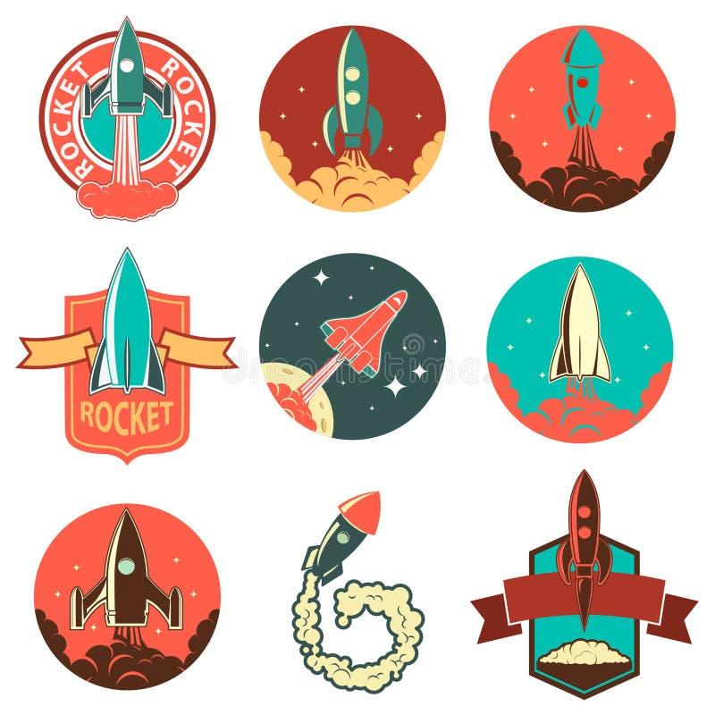 Uppsättning av raketetiketterna stock illustrationer