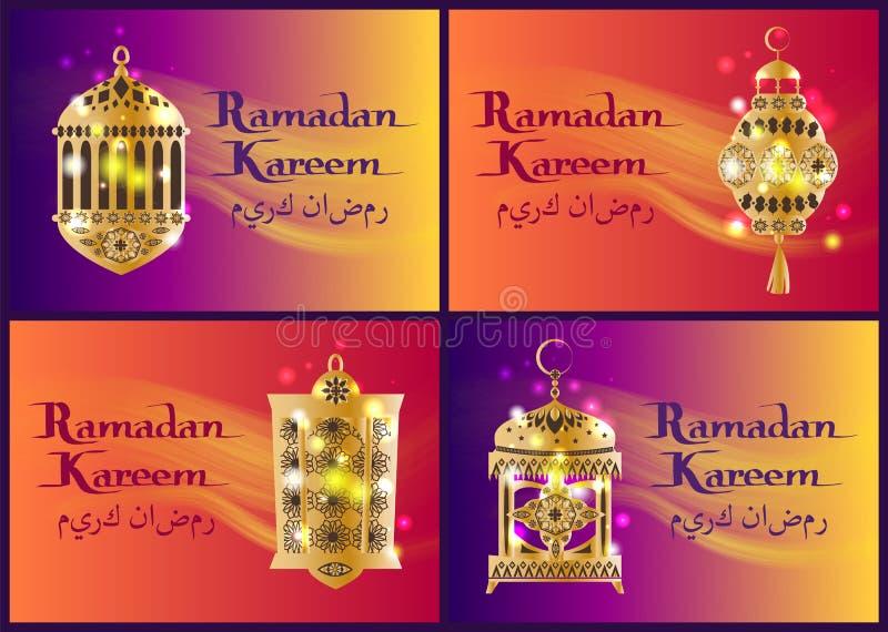 Uppsättning av Ramadan Kareem Lanterns, arabisk kalligrafi royaltyfri illustrationer