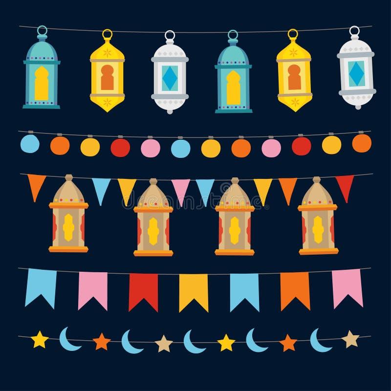 Uppsättning av Ramadan Kareem rader och girlander med ljus, colocrful marockanska lyktor, bunting flaggor, månen och stjärnor vektor illustrationer