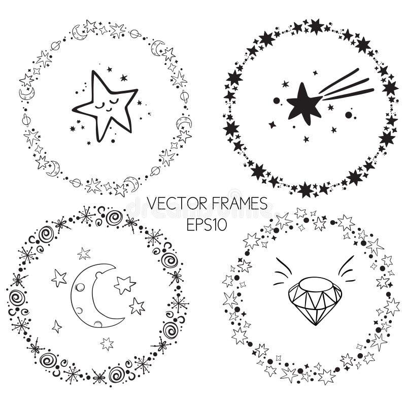 Uppsättning av ramar för cirkel för vektordiagram Kransar för designen, logomall Stardust stjärnor, stjärnklar himmel vektor illustrationer