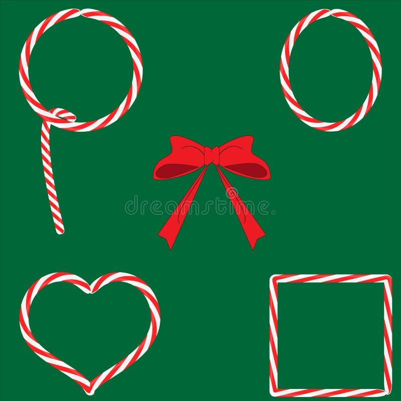 Uppsättning av ramar för jul för godiskaramelllollypops med den röda pilbågen på grön bakgrund, lägenhetdesign, vektor vektor illustrationer