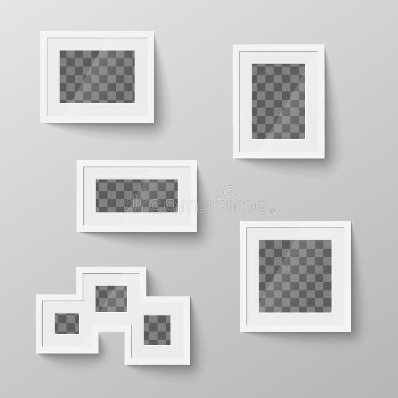 Uppsättning av ramar för vitmellanrumsbild med det genomskinliga stället för foto vektor illustrationer