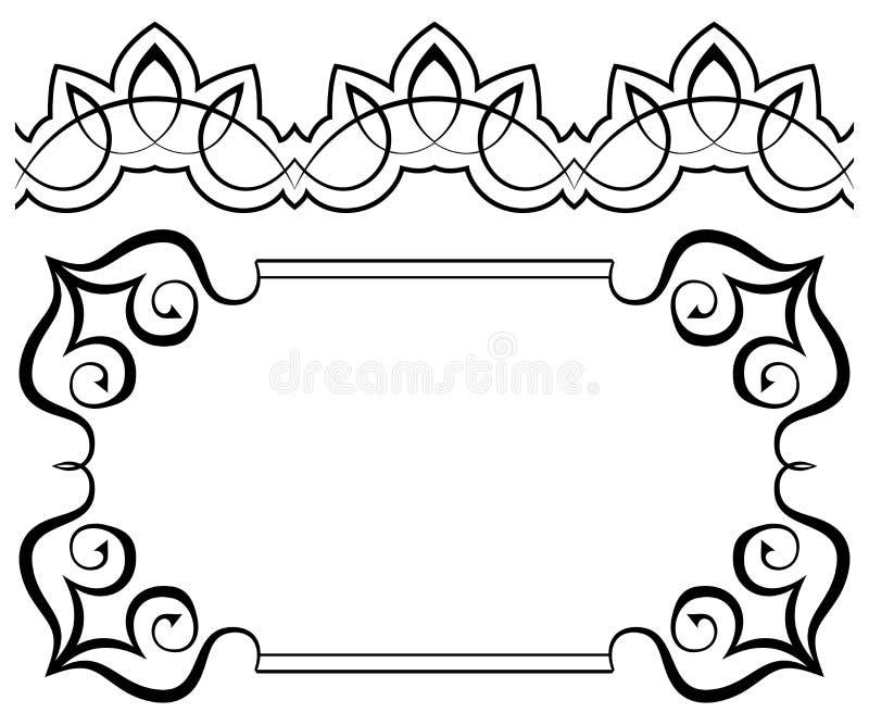 Uppsättning av ramar och gränser designelementillustrationen låter vara vektorn royaltyfri illustrationer