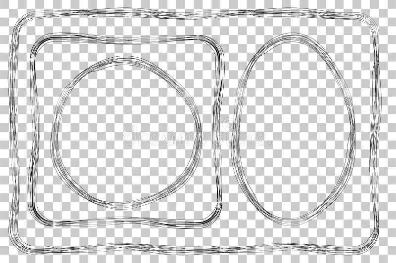 Uppsättning av ramen, åtskilliga linjer, för certifikat, plakat och annat, på genomskinlig effektbakgrund stock illustrationer