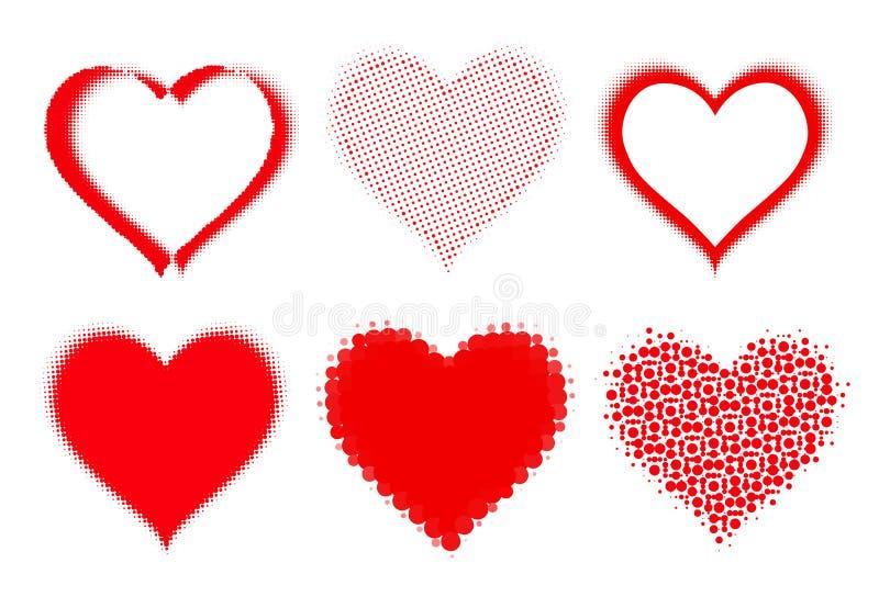 Uppsättning av rastrerade hjärtor royaltyfri illustrationer