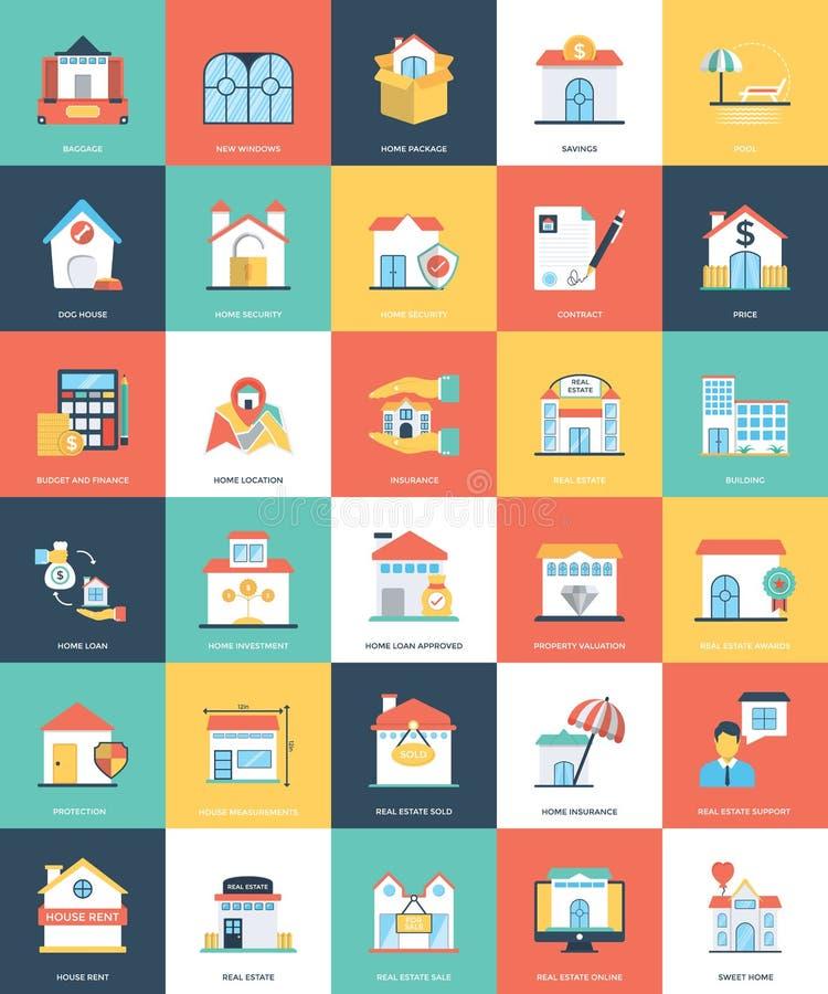 Uppsättning av Real Estate lägenhetsymboler stock illustrationer