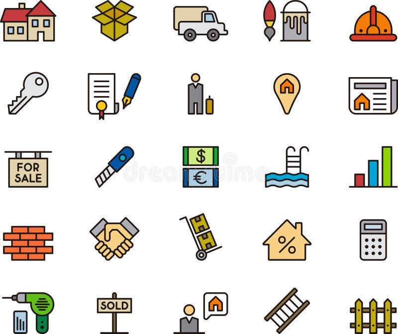 Uppsättning av Real Estate symboler eller symboler stock illustrationer