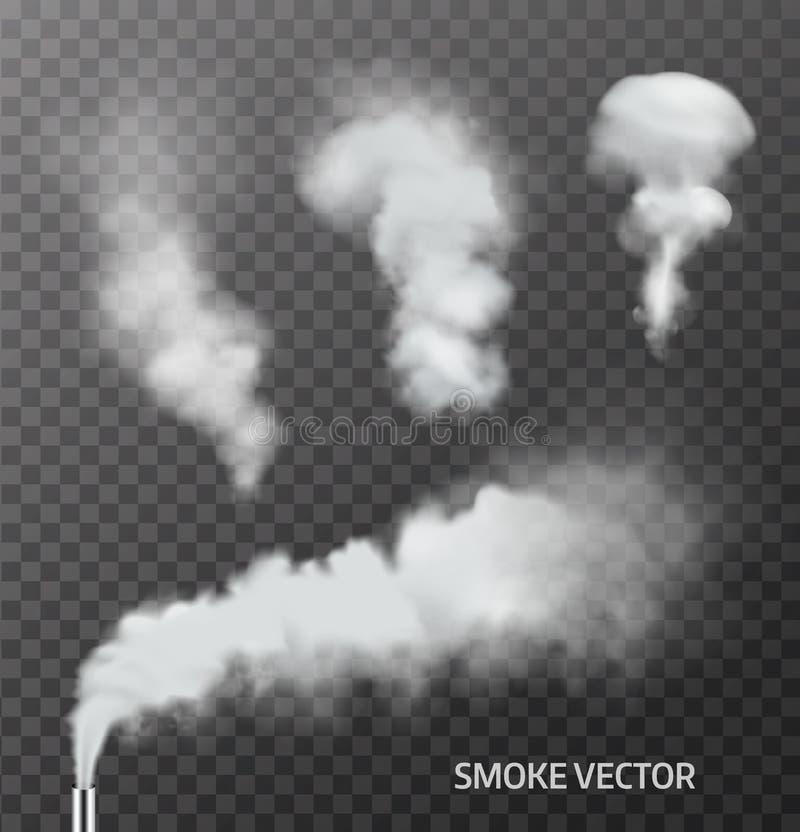 Uppsättning av realistisk rök, ånga på genomskinlig bakgrund vektor arkivfoto