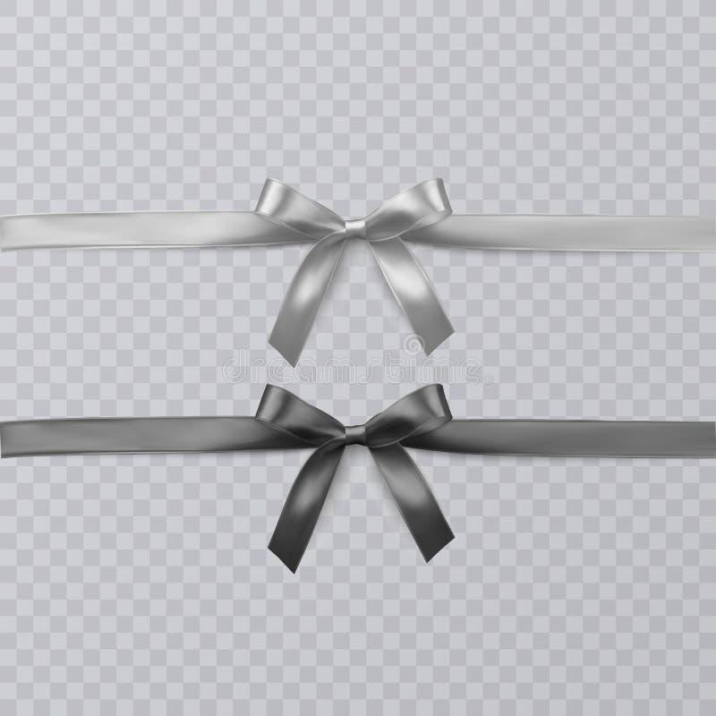 Uppsättning av realistisk svart för vektor och wightbandet och pilbågar på genomskinlig bakgrund Vektor EPS 10 stock illustrationer