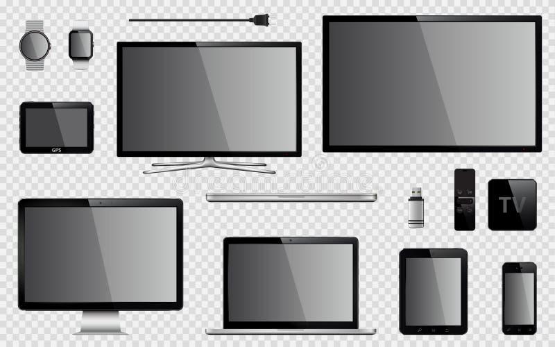 Uppsättning av realistisk TV, datorbildskärm, bärbar dator, minnestavla, mobiltelefon, smart klocka, usb-exponeringsdrev, apparat stock illustrationer