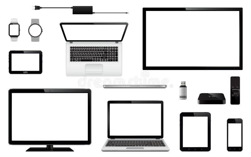 Uppsättning av realistisk TV, datorbildskärm, bärbara datorer, minnestavla, mobiltelefon, smart klocka, usb-exponeringsdrev, appa vektor illustrationer