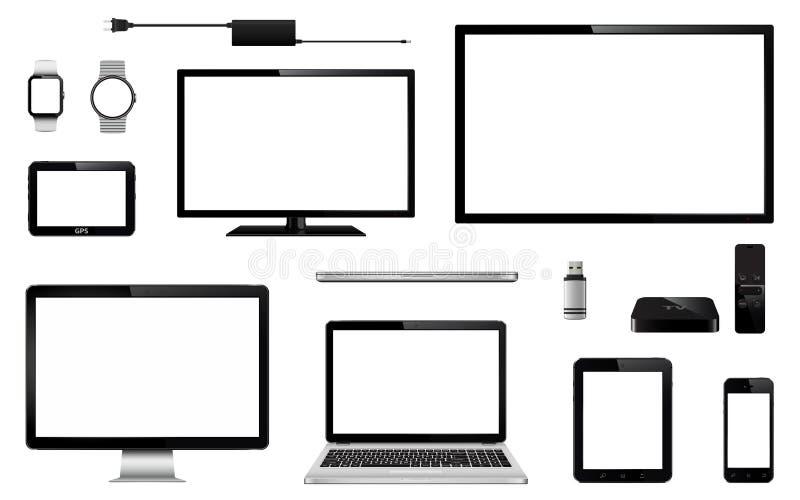 Uppsättning av realistisk TV, datorbildskärm, bärbara datorer, minnestavla, mobiltelefon, smart klocka, usb-exponeringsdrev, appa royaltyfri illustrationer