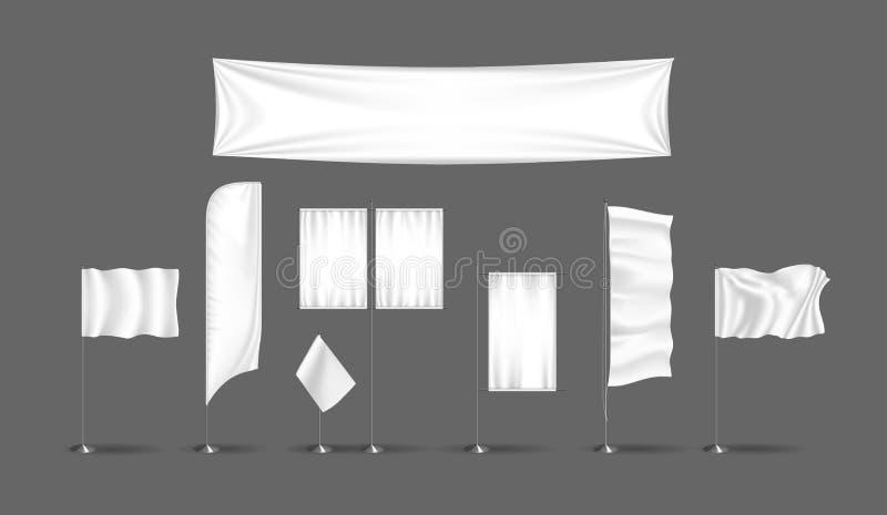Uppsättning av realistiska annonseringaffischtavlor, utomhus- advertizing Utomhus- baner för modell vektor illustrationer