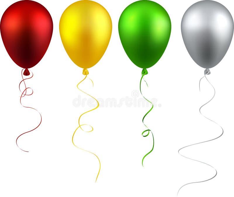 Uppsättning av realistiska ballonger royaltyfri illustrationer