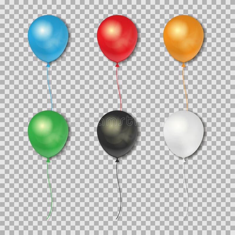 Uppsättning av realistiska ballonger som isoleras på genomskinlig bakgrund också vektor för coreldrawillustration stock illustrationer