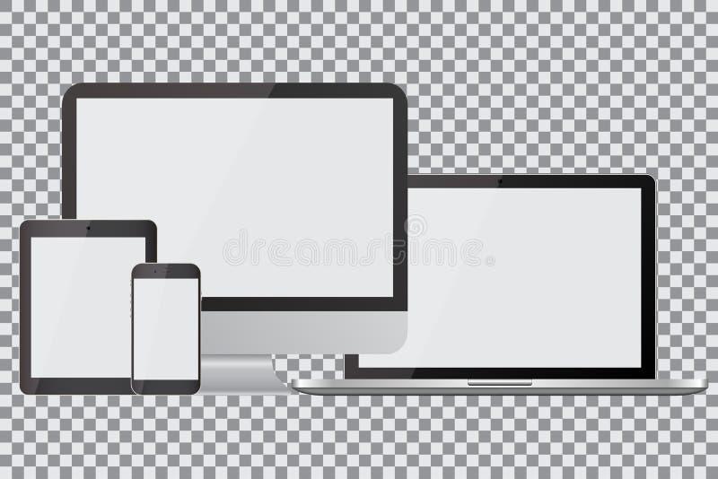 Uppsättning av realistiska datorbildskärmar, bärbara datorer, minnestavlor och mobiltelefoner Elektroniska grejer, på isolerad ba vektor illustrationer